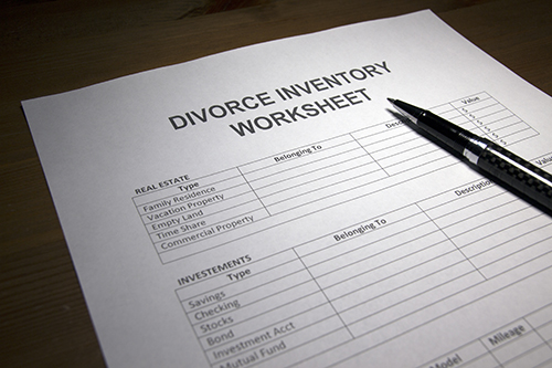 Divorce Inventory Worksheet
