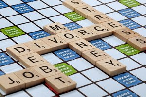 Financial Mediator scrabble with Divorce, Money, Debt spelled out